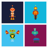 Set Of Different Cute Robots Isolated Stock Photo