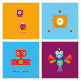 Set Of Different Cute Robots Isolated Royalty Free Stock Photos