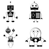 Set Of Different Cute Robots Isolated Stock Images