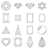 Set of  different cuts of gem stones Stock Photography