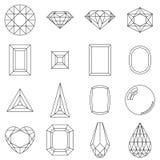 Set of different cuts of gem stones vector illustration