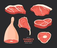 Set different cuts of meats. Pictures for concept of farmer`s market and shop. stock illustration