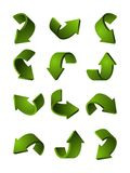 Set of different 3d arrows green color. Vector pictures. Curve arrow illustration Stock Image