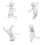 Set of different dancing white 3d men Royalty Free Stock Image