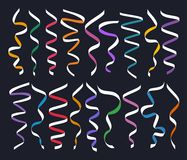 Set of different decorative serpentines, colorful ribbon collection on dark background, vector illustration. Set of different decorative serpentines, colorful Royalty Free Stock Images