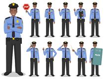 Police people concept. Detailed illustration of african american policeman standing in different poses in flat style royalty free stock photo