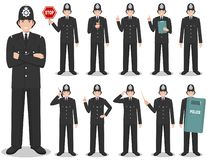 Police people concept. Detailed illustration of british policeman in traditional uniform standing in different poses in stock image