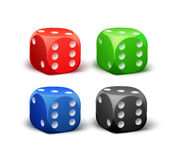 Set of Different Dice. Vector set of different red, black, blue, green dice isolated on white background Royalty Free Stock Photos