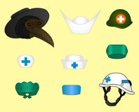 Set of different doctor`s hats Royalty Free Stock Image