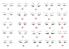 Set 25 different  doddle emotions to create woman characters Royalty Free Stock Photos