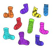Set of different doodle outline socks isolated on white background. Set of ten colorful socks. royalty free illustration