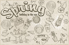 Set of different doodles on a spring theme. black contour Royalty Free Stock Photos