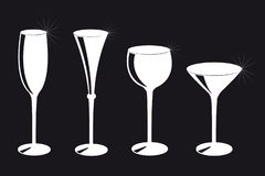 Set of different drinking glasses silhouette on black background stock illustration