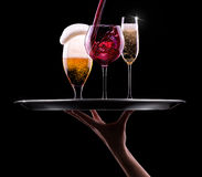 Set with different drinks on black background Royalty Free Stock Photography