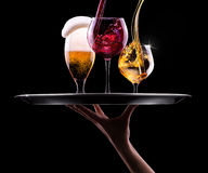 Set with different drinks on black background Royalty Free Stock Image