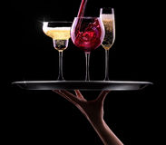 Set with different drinks on black background Royalty Free Stock Photo