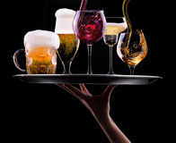 Set with different drinks on black background Royalty Free Stock Photos
