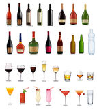 Set of different drinks and cocktails. stock illustration