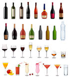 Set of different drinks and cocktails. Stock Images