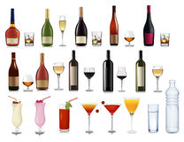 Set of different drinks and cocktails. Stock Photo