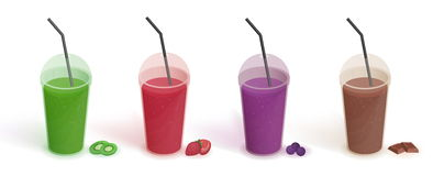 Set of different drinks in plastic cup with lid and straws. Smoothies with blueberries, strawberries, kiwi, chocolate stock illustration