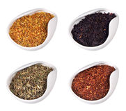 Set of different dry teas Stock Photography