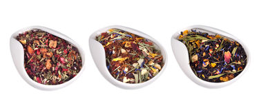 Set of different dry teas Royalty Free Stock Photo