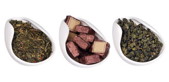 Set of different dry teas Stock Images
