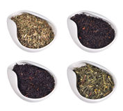Set of different dry teas Royalty Free Stock Photography