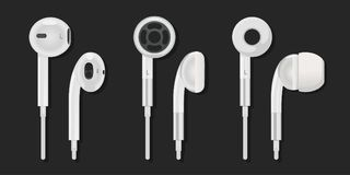 Earphone. A set of different earphones from the different parties Stock Images