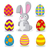 Set Of Different Easter Eggs And A Easter Rabbit Stock Images