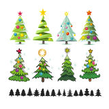 Set of different elegant christmas trees. Design elements of sty Stock Image