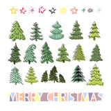 Set of different elegant christmas trees. Design elements of sty Royalty Free Stock Photos