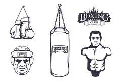 Set of different elements for box design - boxing gloves, boxer man, boxing helmet, boxing belt, punching bag. Sports equipment. Set. Fitness illustrations Royalty Free Stock Photo
