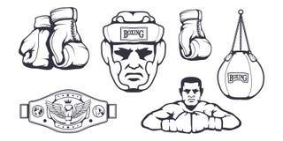 Set of different elements for box design - boxing gloves, boxer man, boxing helmet, punching bag, boxing belt. Sports equipment. Set. Fitness illustrations Stock Images