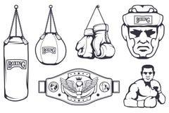 Set of different elements for box design - boxing gloves, boxer man, boxing helmet, boxing belt. Sports equipment set. Fitness. Illustrations. Sport Club logo Stock Image