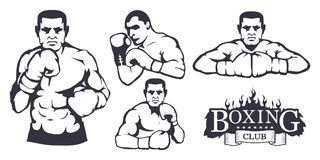 Set of different elements for box design - boxing gloves, boxer man. Sports equipment set. Fitness illustrations. Sport Club logo. Vector graphics to design Stock Images