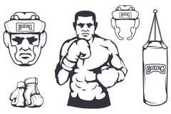 Set of different elements for box design - boxing helmet, punching bag, boxing gloves, boxer man. Sports equipment set. Fitness. Illustrations. Sport Club logo Stock Image