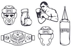 Set of different elements for box design - boxing helmet, punching bag, boxing gloves, boxing belt, boxer man. Sports equipment. Set. Fitness illustrations Royalty Free Stock Images