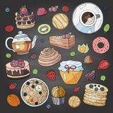 Set of different elements for breakfast morning on blackboard. Breakfast doodle collection royalty free stock photos