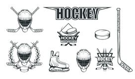 Set of different elements for hockey playing. Hockey helmet. Professional ice skates illustration. Ice Games logo. Goalkeeper mask. With sticks. Vector graphics royalty free illustration