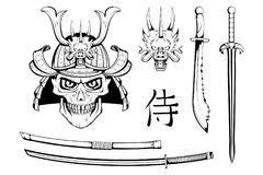 Set of different elements of samurai design - samurai mask, helmet, Japanese sword, katana sword. Mask of a samurai warrior. With a sword. Vector graphics to Stock Image