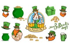 Set of different elements for the St.Patrick`s Day. Saint Patrick`s day Lettering. Heavenly patron of Ireland - Saint Patrick Stock Image