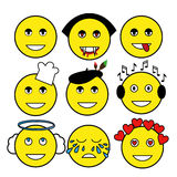 Set of different emoticons. Smiley: vampire, artist, chef, angel, music lover, smile, tears, love, bully. Royalty Free Stock Image