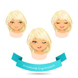 Set of different emotion: smile, joy,wink. Cute blue eyed blonde with various facial expressions. Set of different emotion: smile, joy,wink. Cartoon cute girl Royalty Free Stock Photo