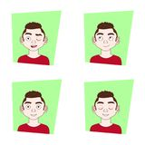 Set Of Different Emotional Expressions Young Man Emotions Collection. Vector Illustration Royalty Free Stock Photo