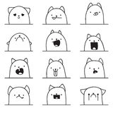 Set of 12 different emotions cat. Anime doodle design Royalty Free Stock Photos