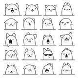 Set of 20 different emotions cat. Anime doodle design Royalty Free Stock Images