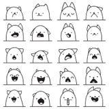 Set of 20 different emotions cat. Anime doodle design vector illustration