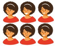 Set with different emotions on the girl s face joy, sadness, smile, anger, fear, irritation, laughter. royalty free illustration